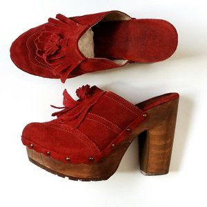 "Bed Stu Red Suede ""Goldie"" Clog Platforms - 10"